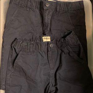 2 Osh Kosh Poplin Khaki Shorts NAVY Sz 8